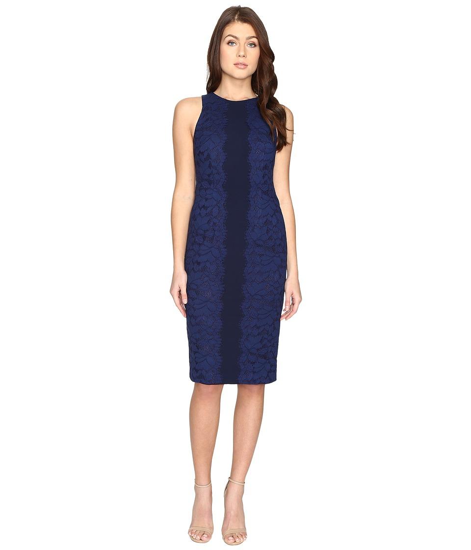 Maggy London Fan Leaf Lace Midi Dress (Blue Indigo) Women