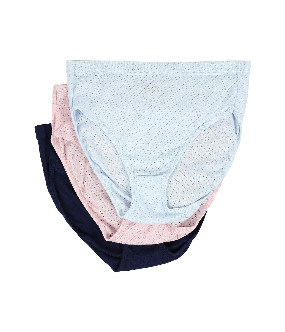 Jockey - Elance Breathe French Cut 3-Pack (Frothy Blue/Pink Shadow/Just Past Midnight) Women's Underwear
