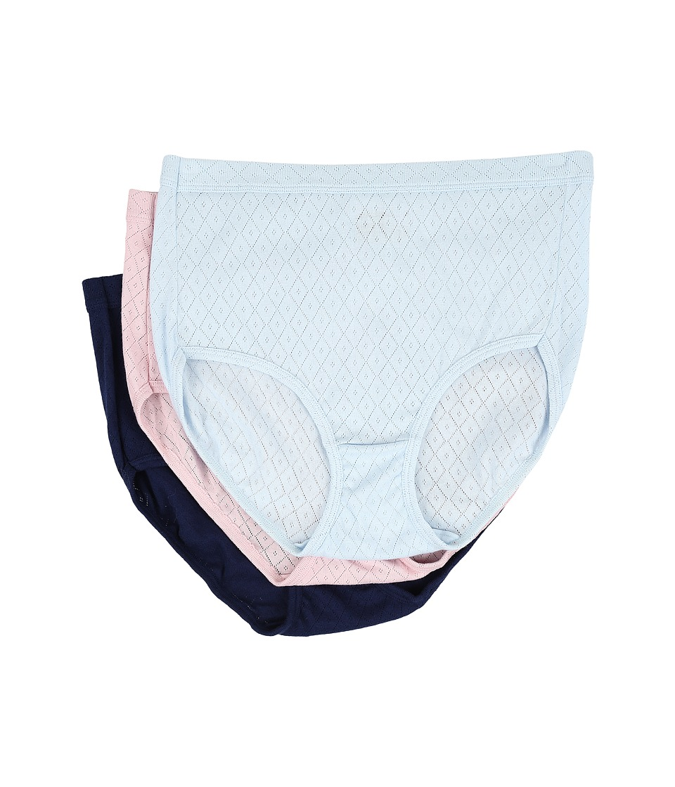 Jockey - Elance Breathe Brief 3-Pack (Frothy Blue/Pink Shadow/Just Past Midnight) Women's Underwear