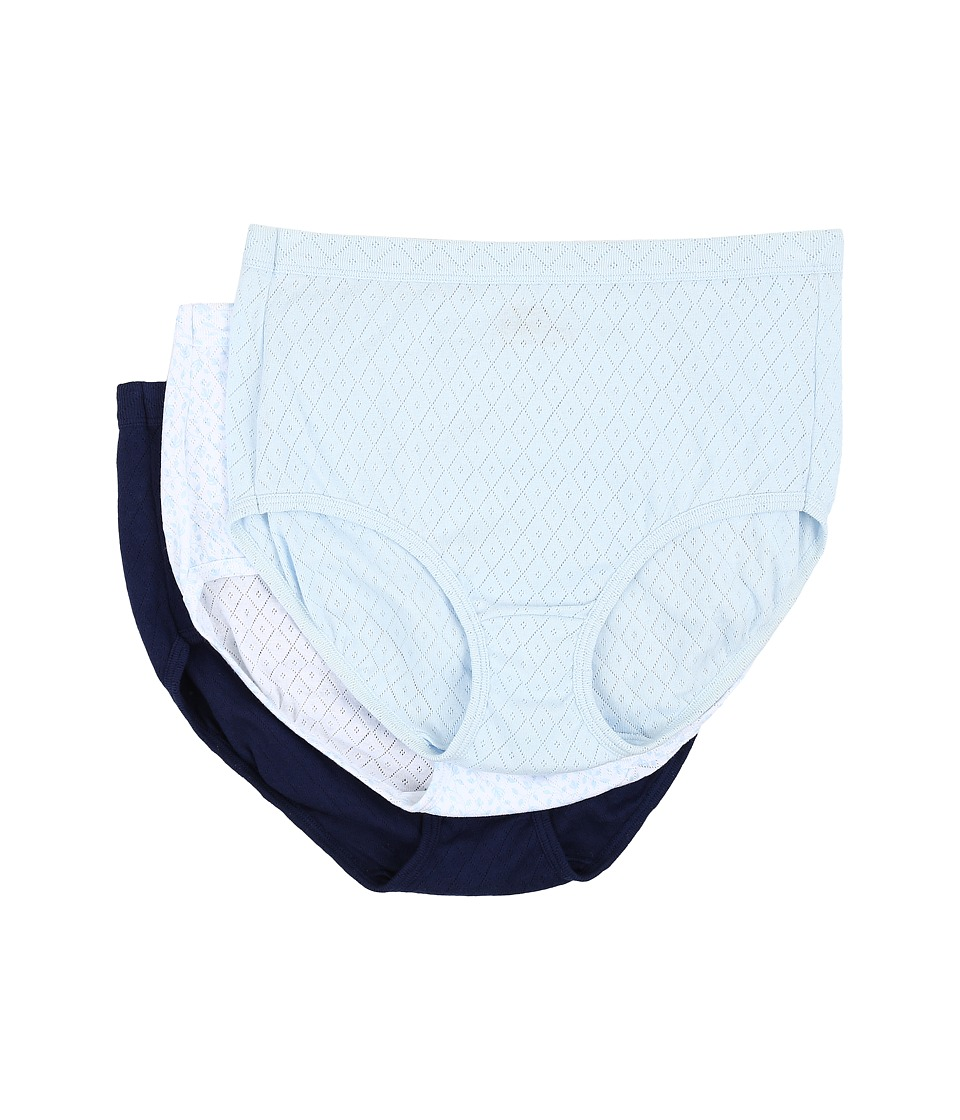 Jockey - Elance Breathe Brief 3-Pack (Frothy Blue/Flowing Vine/Just Past Midnight) Women's Underwear
