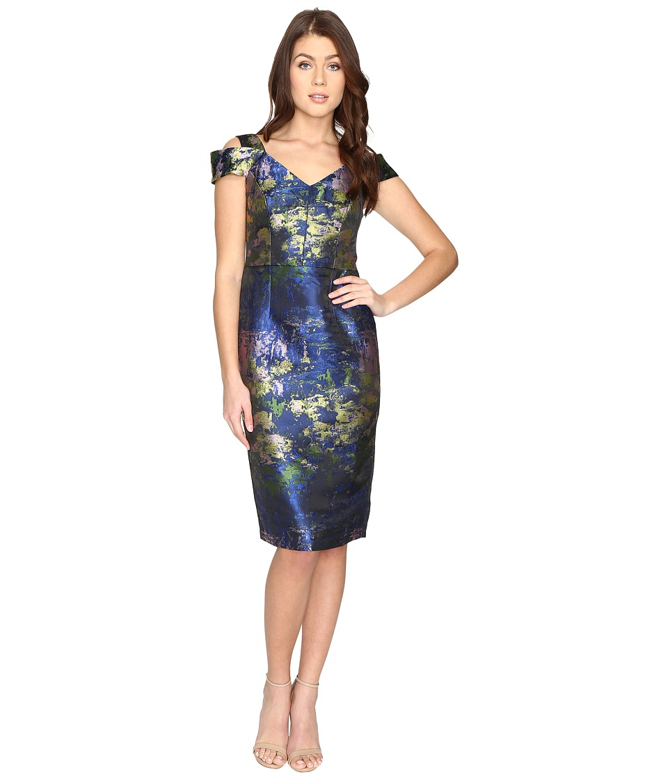 Maggy London - Water Lily Brocade Jacquared Off The Shoulder Sheath Dress (Navy/Green) Women's Dress