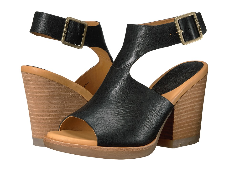 Kork-Ease - Linden (Black Full Grain) Women's Wedge Shoes