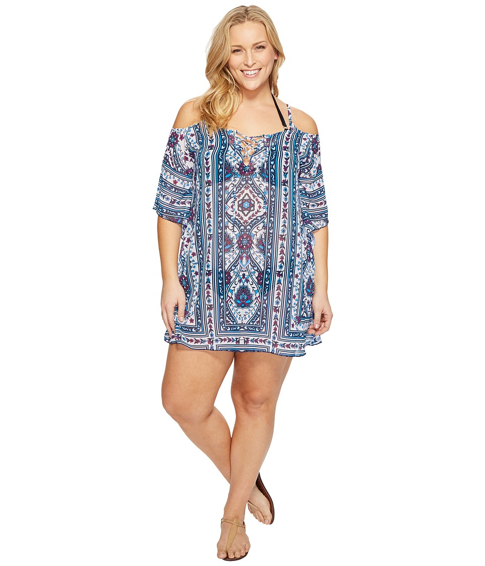 BECCA by Rebecca Virtue - Plus Size Inspired Tunic Cover-Up (Multi) Women's Swimwear