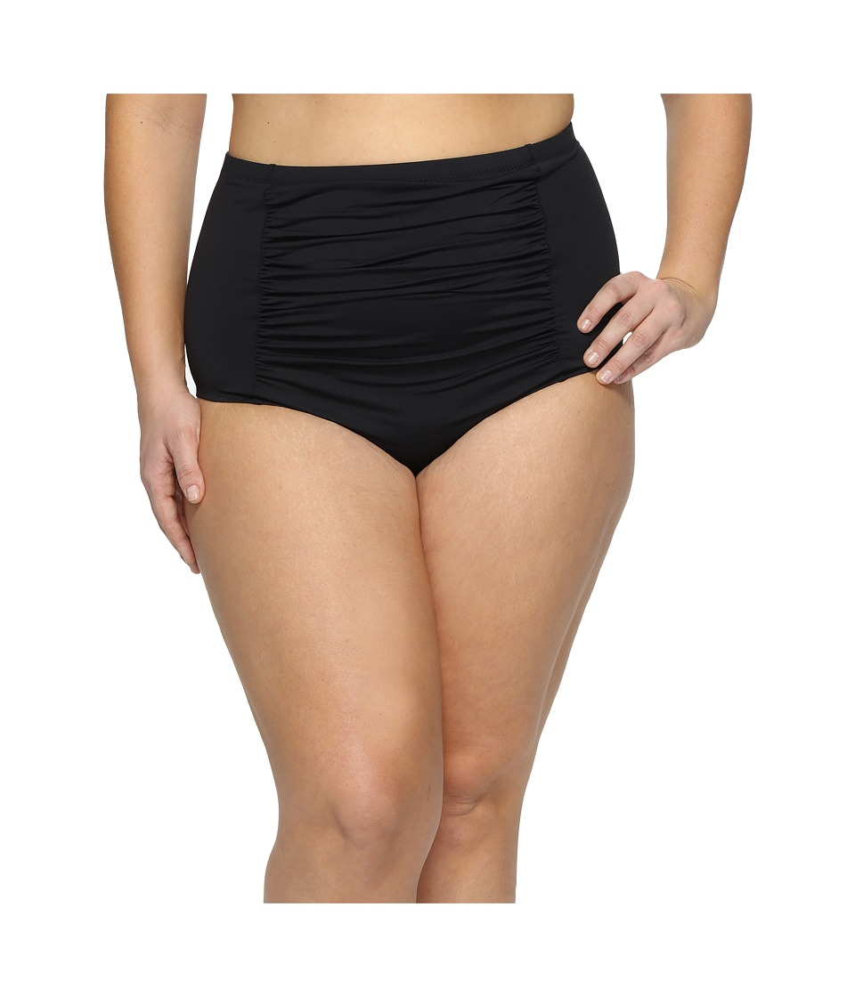 BECCA by Rebecca Virtue - Plus Size Black Beauties High Waist Bottoms (Black) Women's Swimwear