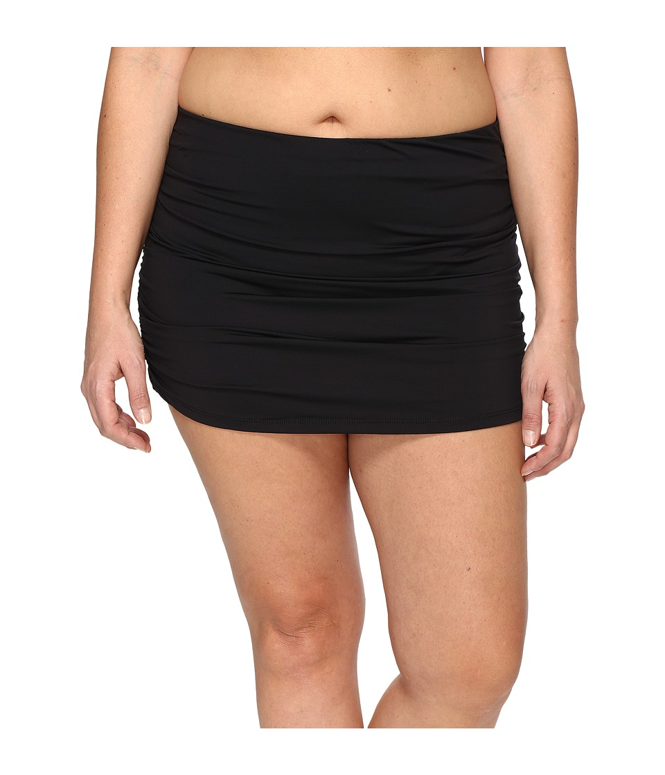BECCA by Rebecca Virtue - Plus Size Black Beauties Skirty Bottoms (Black) Women's Swimwear