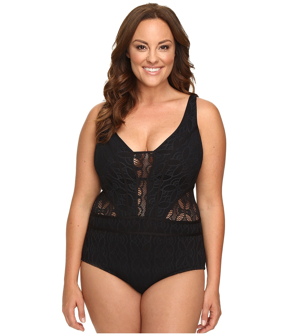 BECCA by Rebecca Virtue - Plus Size Color Play One-Piece (Black) Women's Swimsuits One Piece