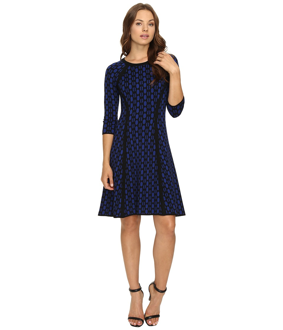 Taylor - Sweater Knit Dress (Royal Black) Women's Dress