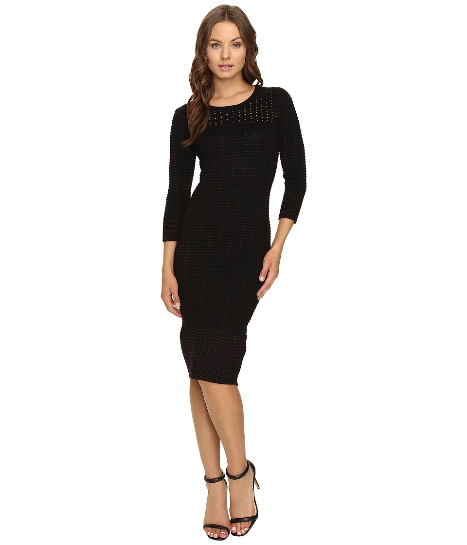 Taylor - Sweater Knit Dress (Black/Wine) Women's Dress