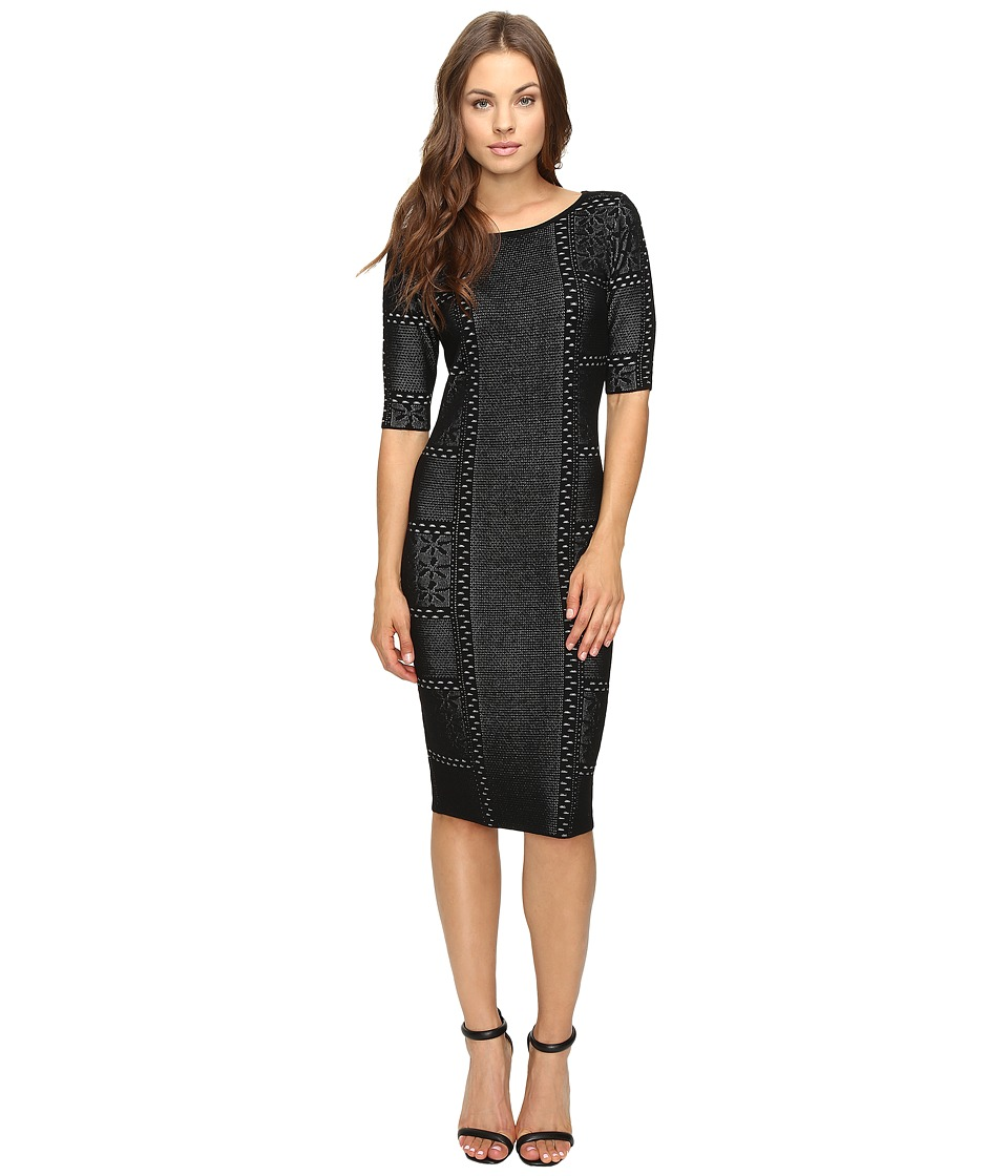 Taylor - Sweater Knit Dress (Black/Ivory) Women's Dress