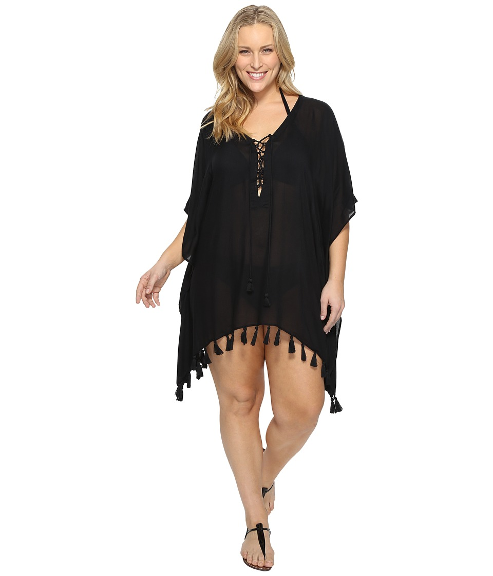 BECCA by Rebecca Virtue - Plus Size Wanderer Tunic Cover-Up (Black) Women's Swimwear