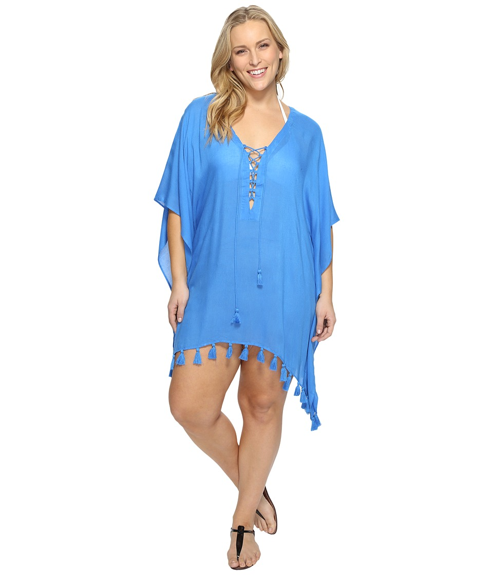 BECCA by Rebecca Virtue Plus Size Wanderer Tunic Cover-Up (Water) Women