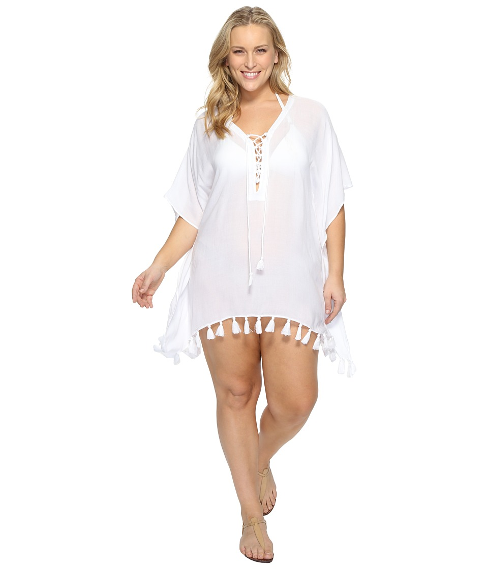 BECCA by Rebecca Virtue - Plus Size Wanderer Tunic Cover-Up (White) Women's Swimwear