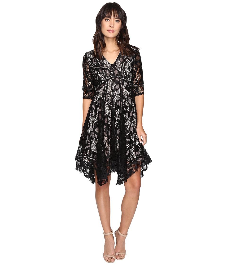 Taylor - Mesh Lace Dress (Black/Pink) Women's Dress