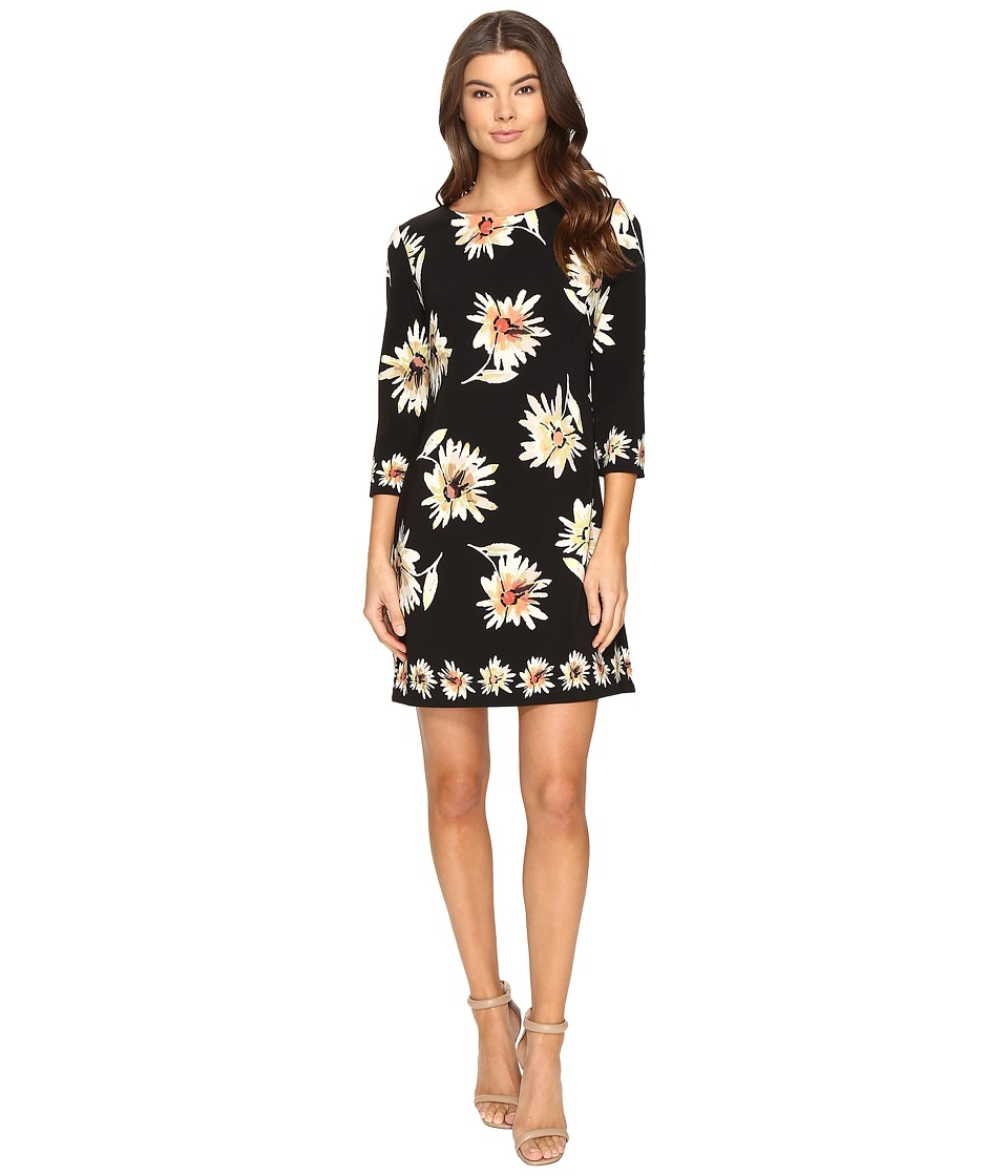Taylor - Printed Stretch Crepe Dress (Black/Multi) Women's Dress