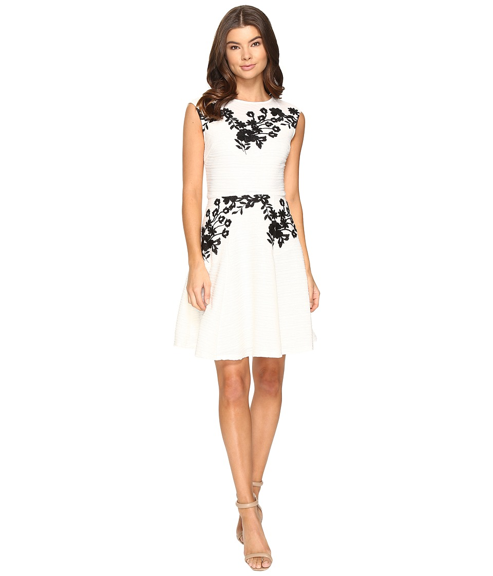 Taylor Embroidered Corded Knit Dress (Cream) Women