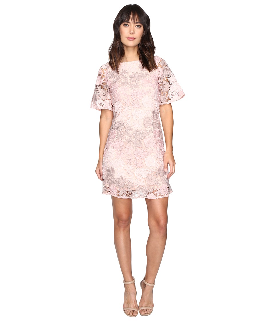 Taylor - Embroidered Chemical Lace Dress (Peach) Women's Dress