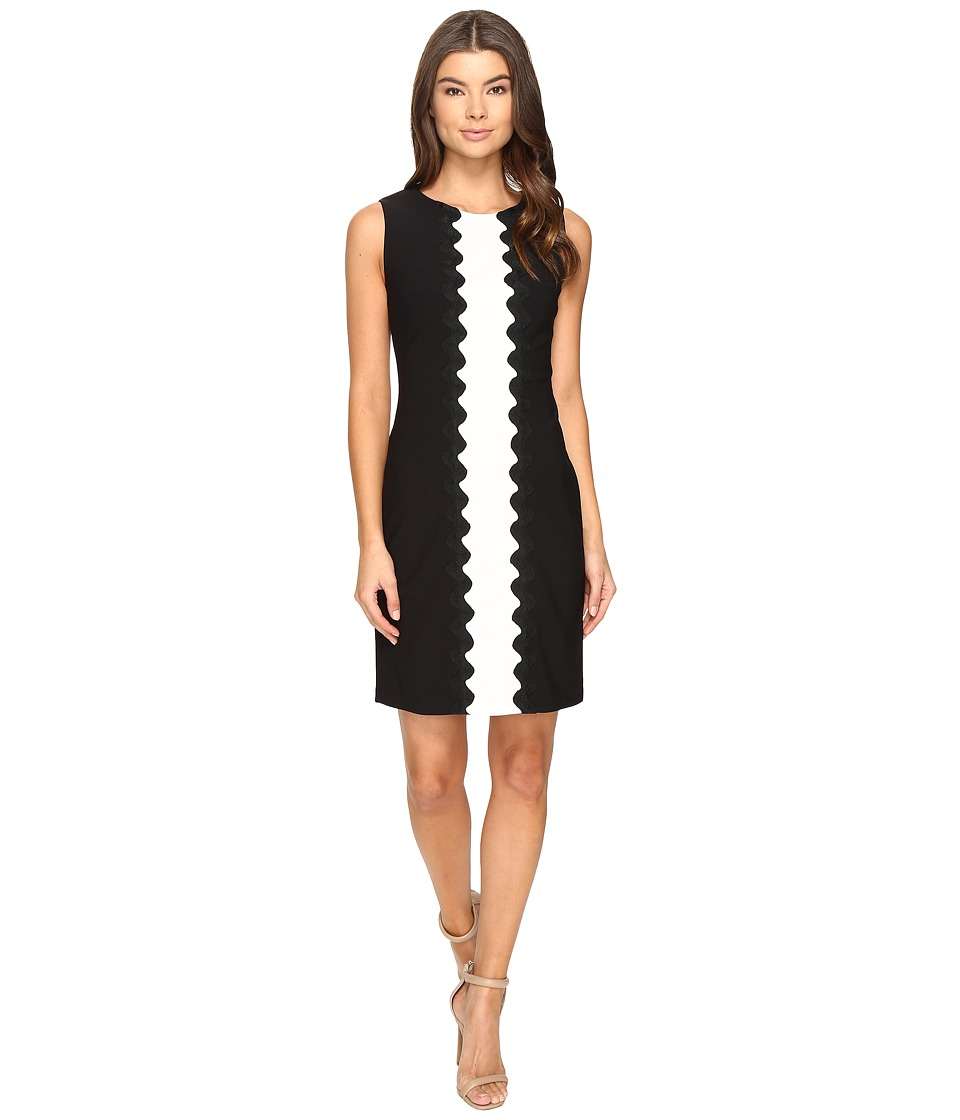 Taylor - Stretch Crepe Dress (Black/Ivory) Women's Dress