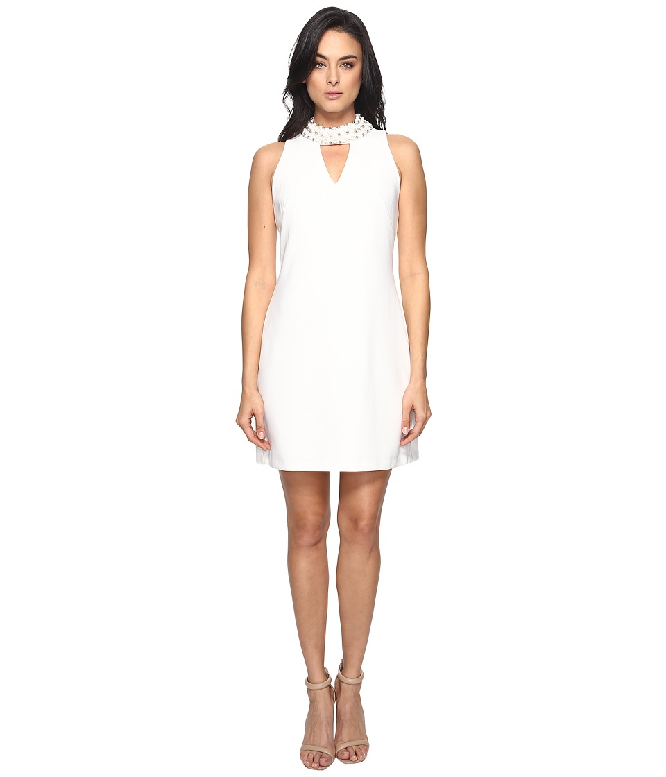Taylor Embellished Stretch Crepe Dress (Ivory) Women