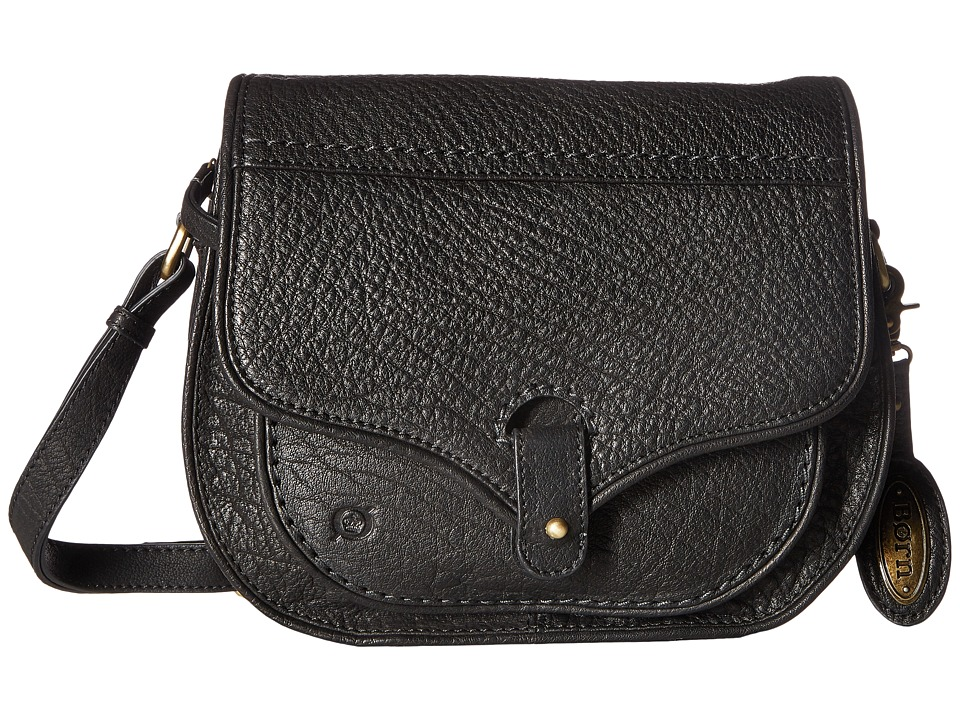 Born - Cody Zip Top Saddle Bag (Black) Handbags