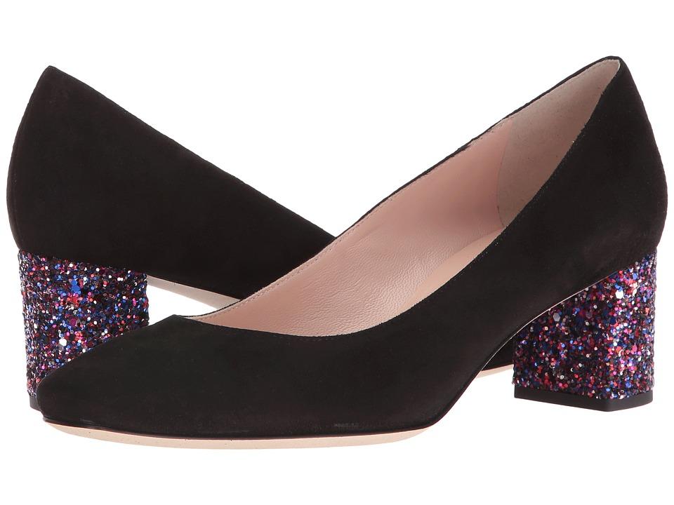 Kate Spade New York - Dolores (Black Kid Suede/Purple Glitter Heel) Women's Shoes