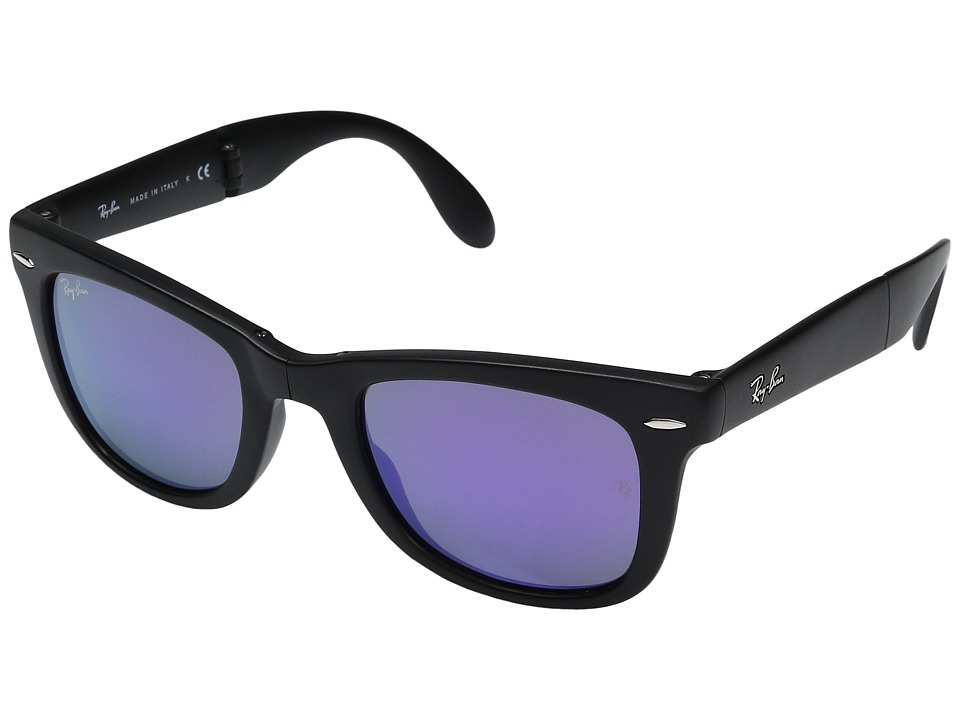 Ray-Ban - 0RB4105 Folding Wayfarer (Black/Multi) Fashion Sunglasses