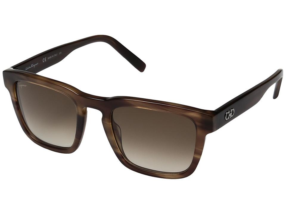 Salvatore Ferragamo - SF827SM (Striped Grey/Grey Gradient) Fashion Sunglasses