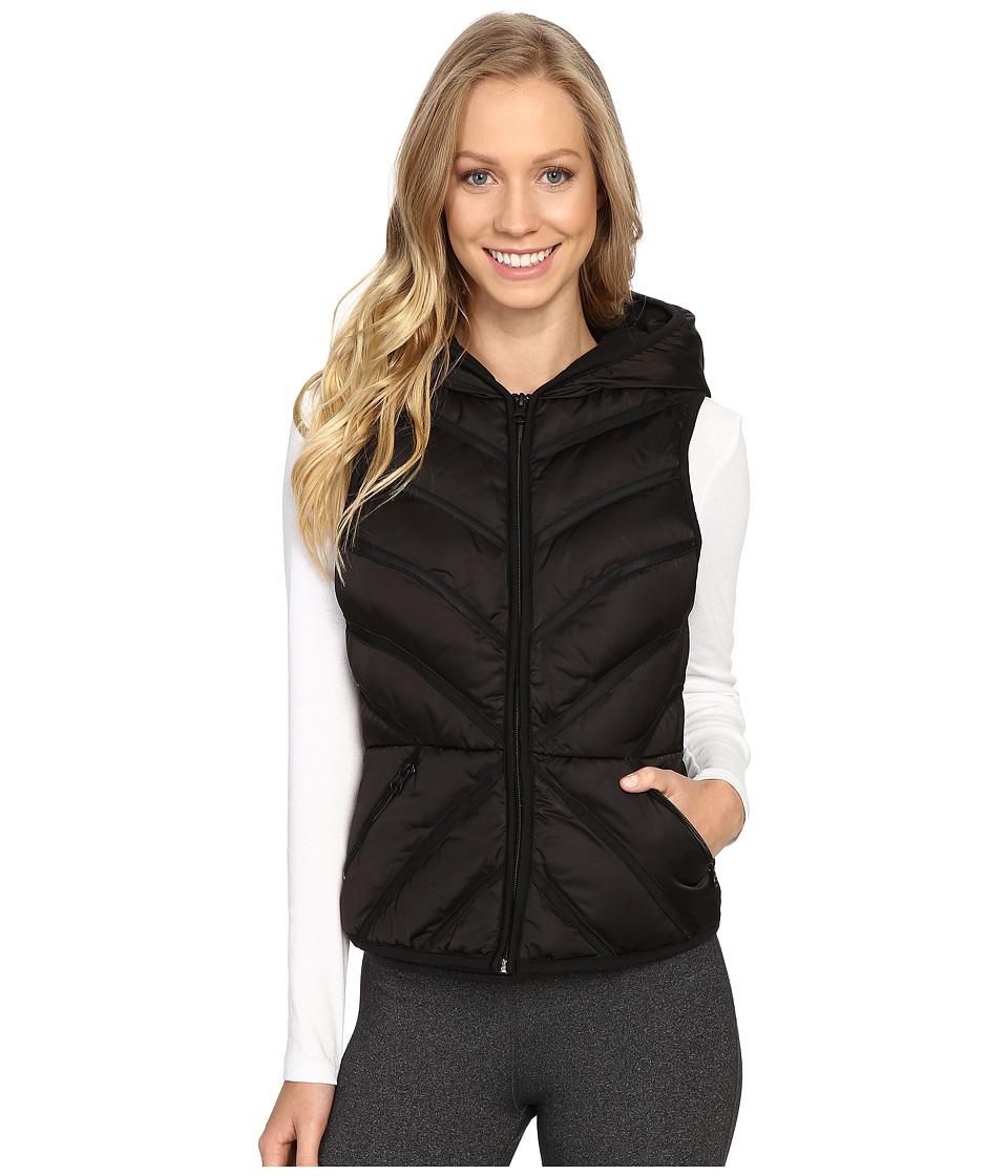 Blanc Noir - Mesh Inset Puffer Vest Satin (Black) Women's Vest