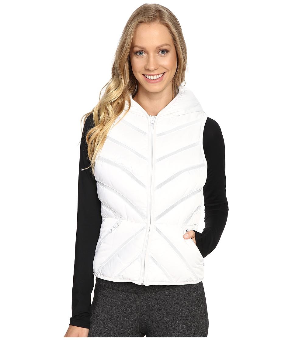 Blanc Noir - Mesh Inset Puffer Vest Satin (White) Women's Vest