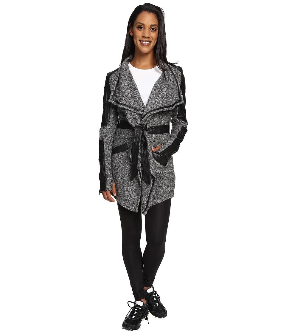 Blanc Noir - Drape Sweater Coat (Charcoal Heather/Black) Women's Coat