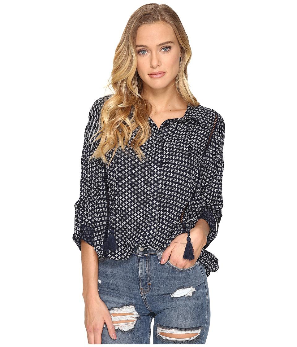 Rip Curl - Cara Long Sleeve Shirt (Navy) Women's Long Sleeve Button Up
