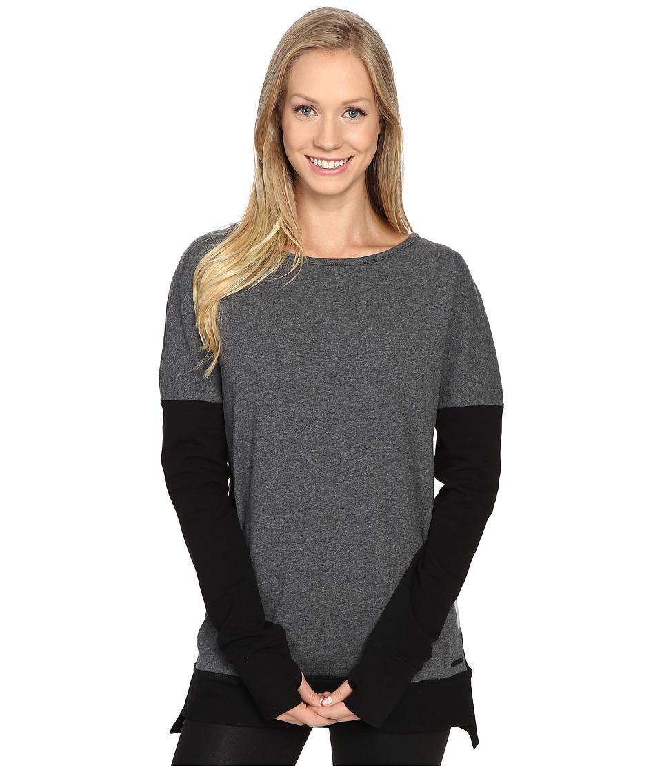 Blanc Noir - Crossback Sweatshirt (Charcoal Heather/Black) Women's Sweatshirt