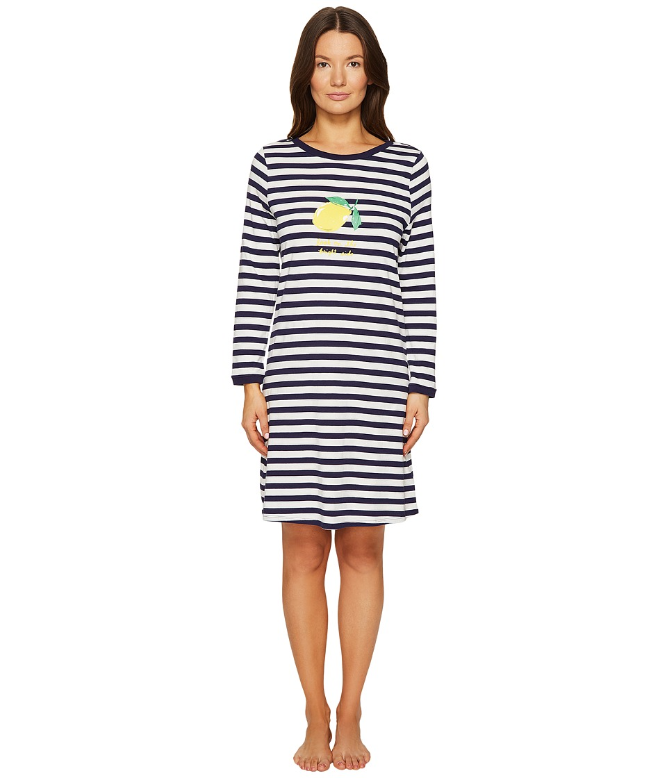 "Kate Spade New York - Look On The Bright Side Navy Stripe Sleepshirt (Navy Stripe ""Look On The Bright Side"") Women's Pajama"