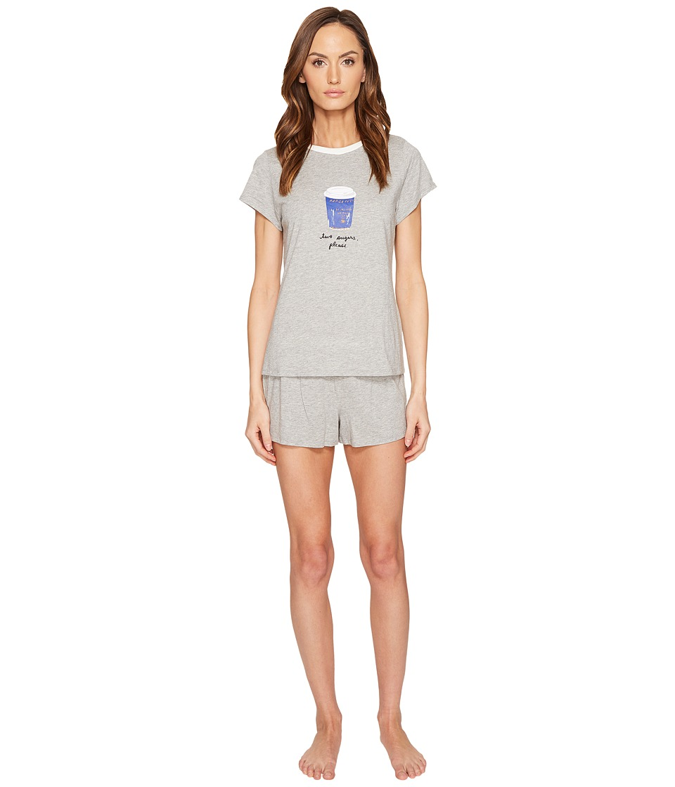 Kate Spade New York - Two Sugars Please Short PJ Set (Grey Heather) Women's Pajama Sets