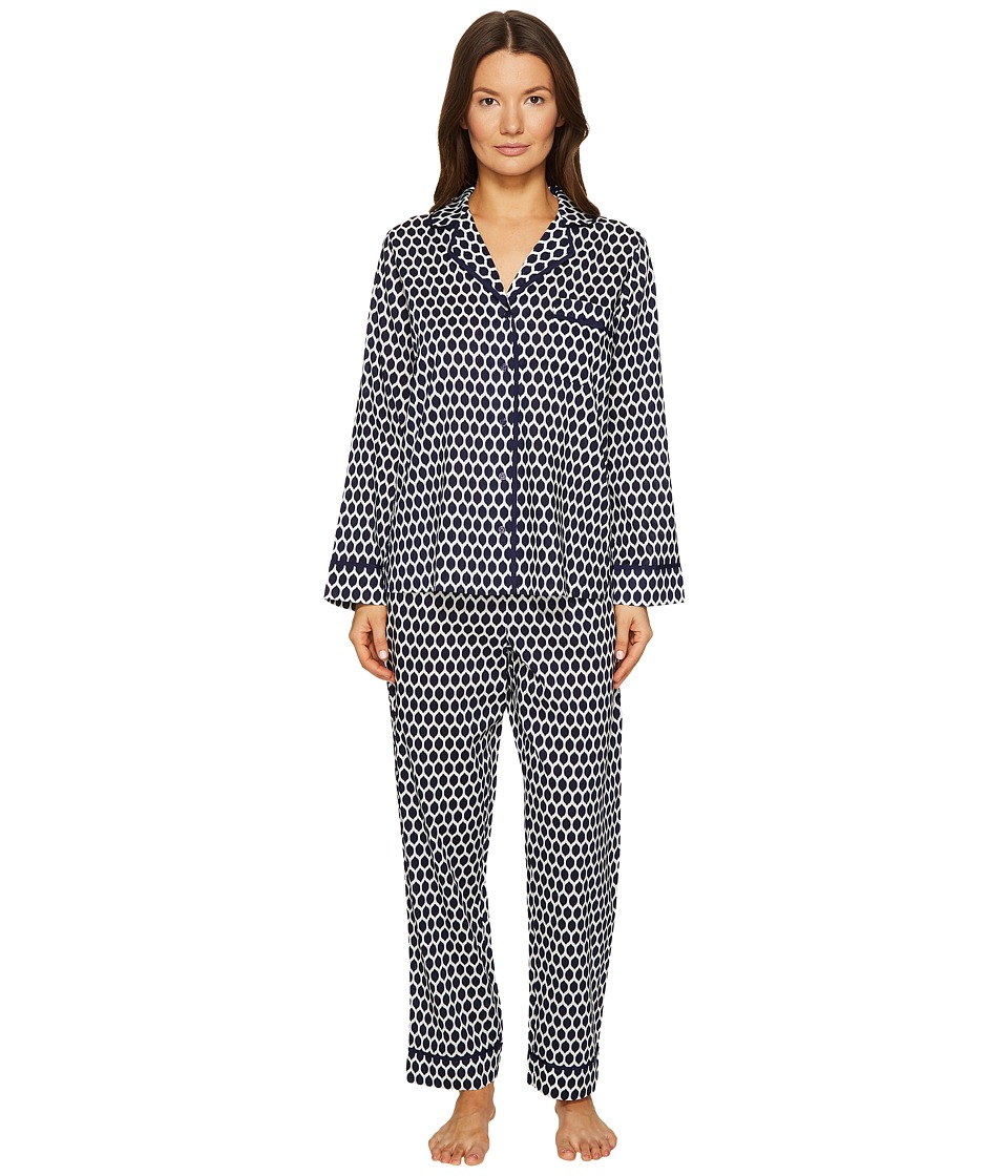 Kate Spade New York - Navy Geometric Lemons Long PJ Set (Navy Geometric Lemons) Women's Pajama Sets