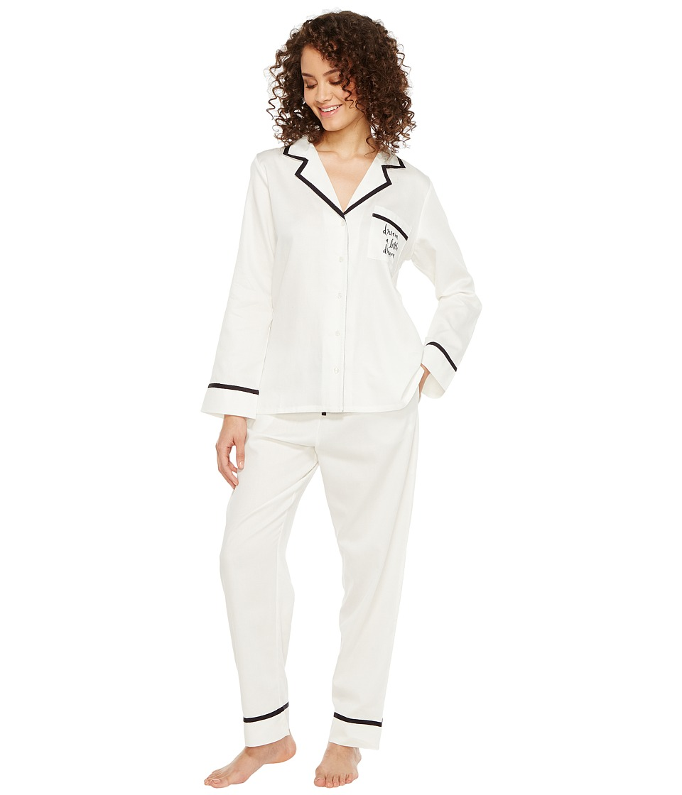 "Kate Spade New York - Fresh White Dream A Little Dream Long PJ Set (Fresh White ""Dream A Little Dream"") Women's Pajama Sets"