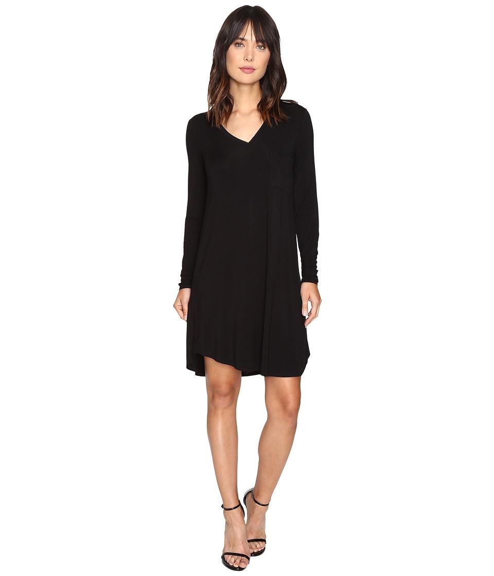 HEATHER - Long Sleeve V Pocket Tee Dress (Black) Women's Dress