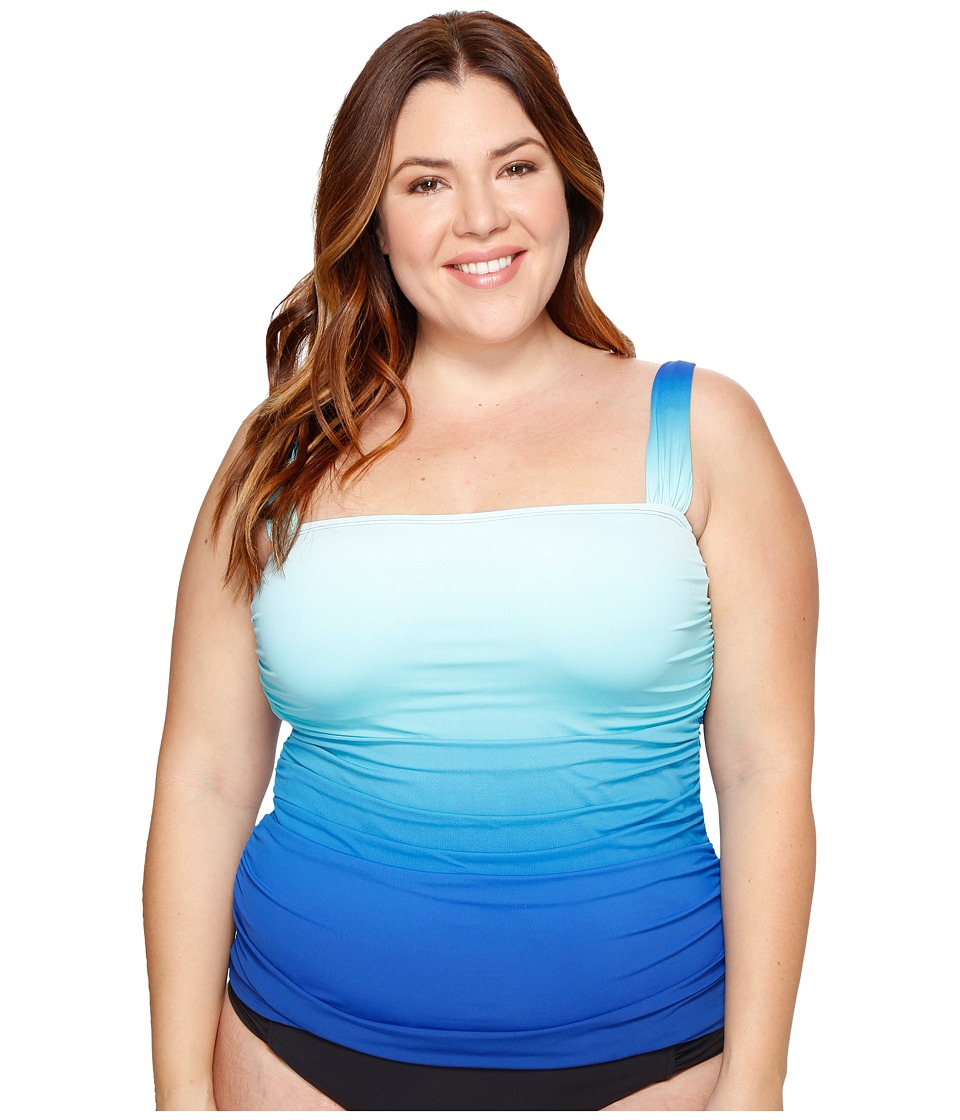 Bleu Rod Beattie - Plus Size Fun in the Sun Over the Shoulder Tankini Top (Bleu Multi) Women's Swimwear