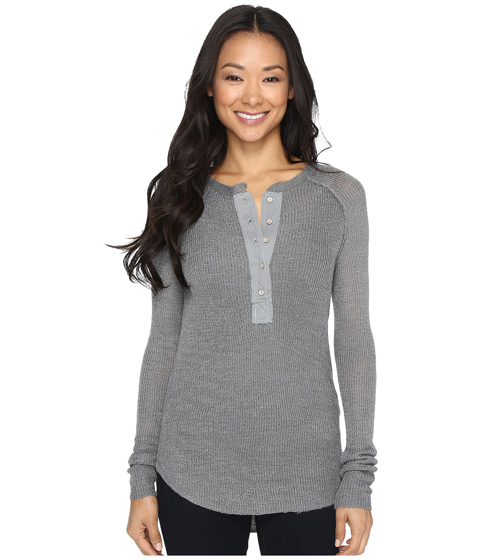 Rip Curl - Soft Spot Knit Henley Sweater (Heather Grey) Women's Long Sleeve Pullover