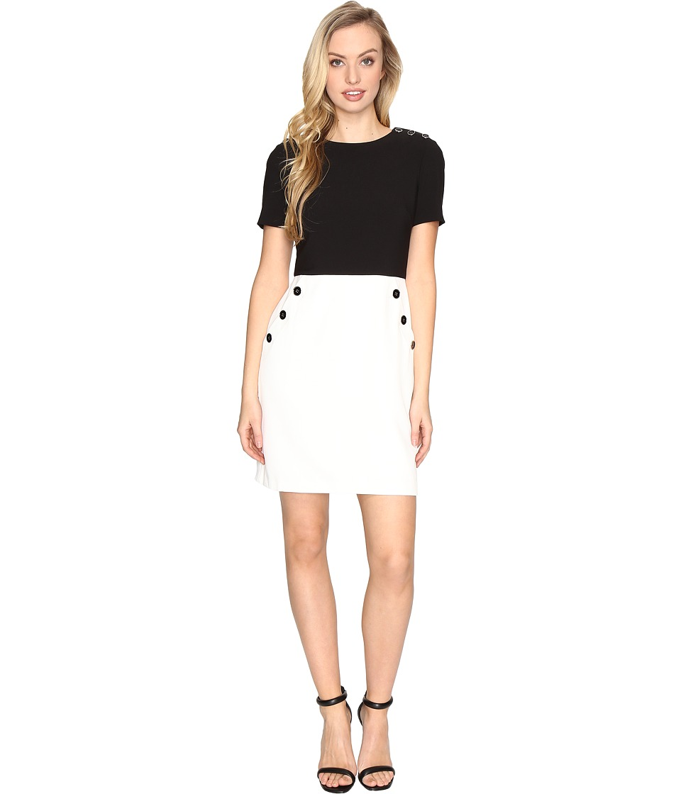 Maggy London - Mystic Crepe Button Trim Dress (Black/Soft White) Women's Dress
