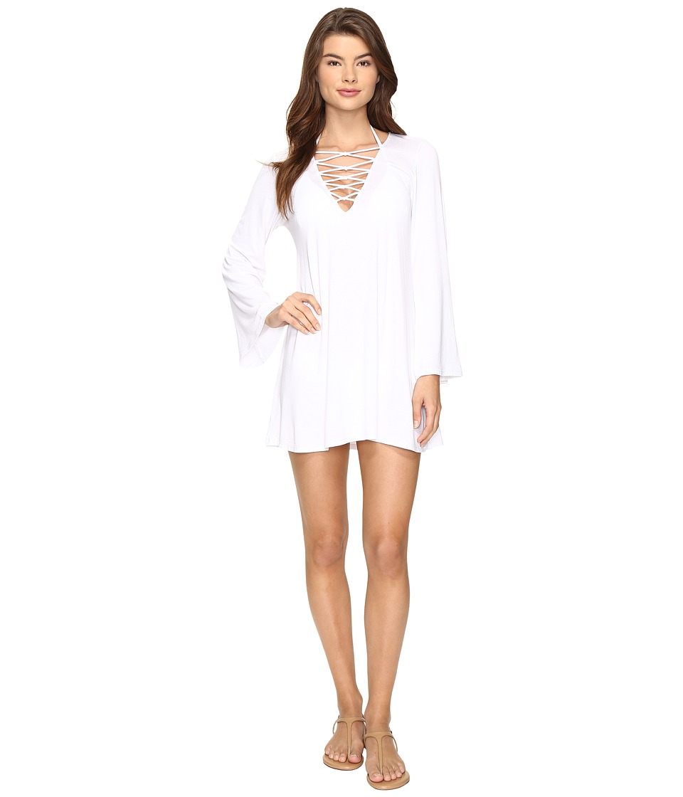 Bleu Rod Beattie - Knotty But Nice V-Neck Plunge Dress Cover-Up (White) Women's Swimwear