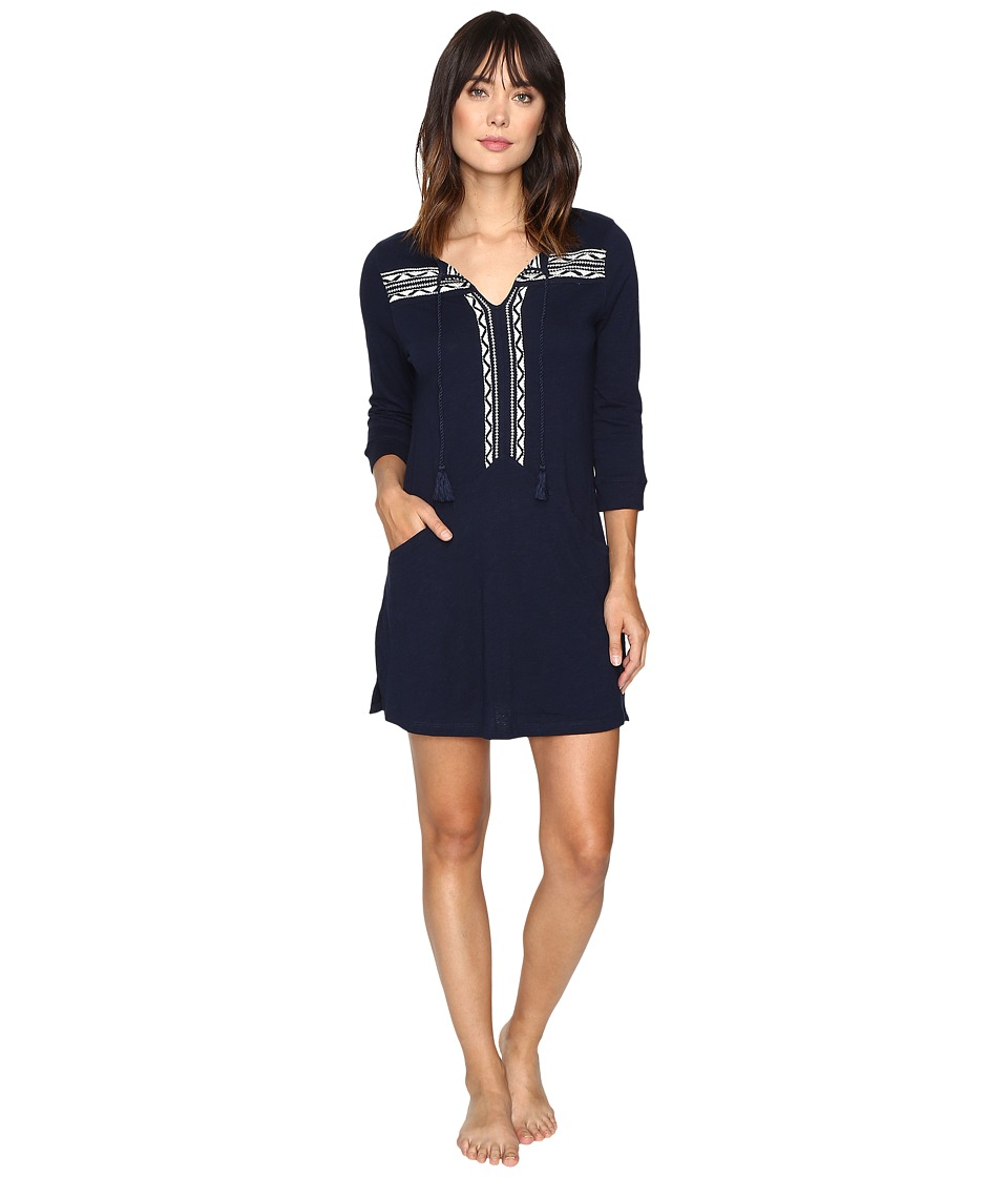 Lucky Brand - Embellished Knit Tunic w/ Pocket (Navy) Women's Clothing