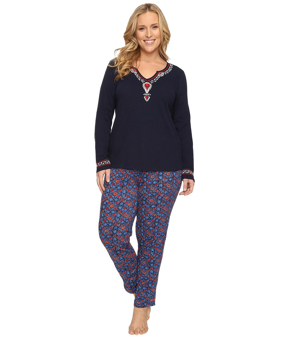 Lucky Brand - Plus Size Long Sleeve Pajama Set (Navy Blockprint) Women's Pajama Sets