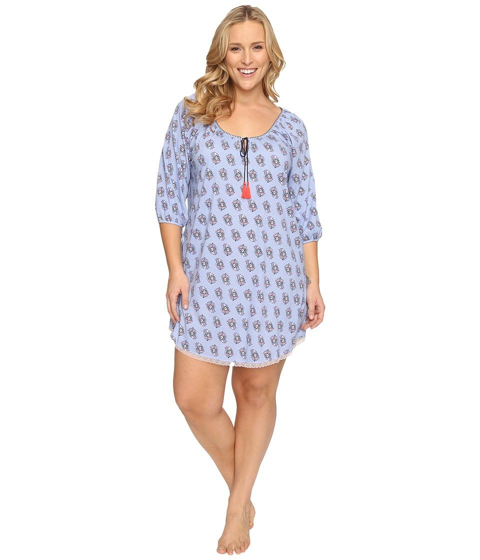 Lucky Brand - Plus Size Tassle Sleepshirt (Multi Tile Floral) Women's Pajama