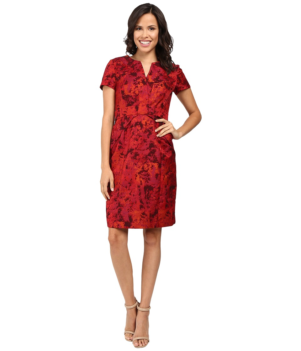 NUE by Shani Printed Jacquard Dress w/ Waistline Detail (Red) Women