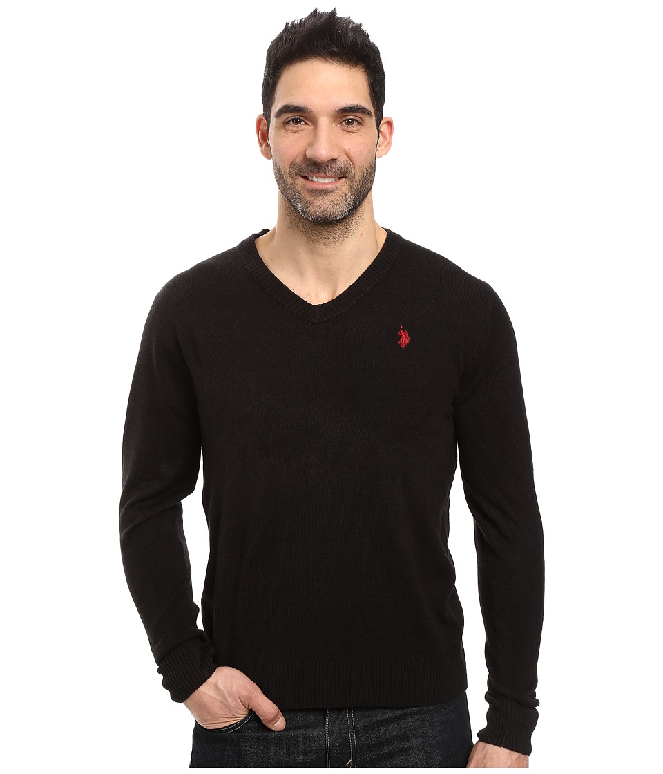 U.S. POLO ASSN. - Solid Vee Acrylic (Black) Men's Sweater