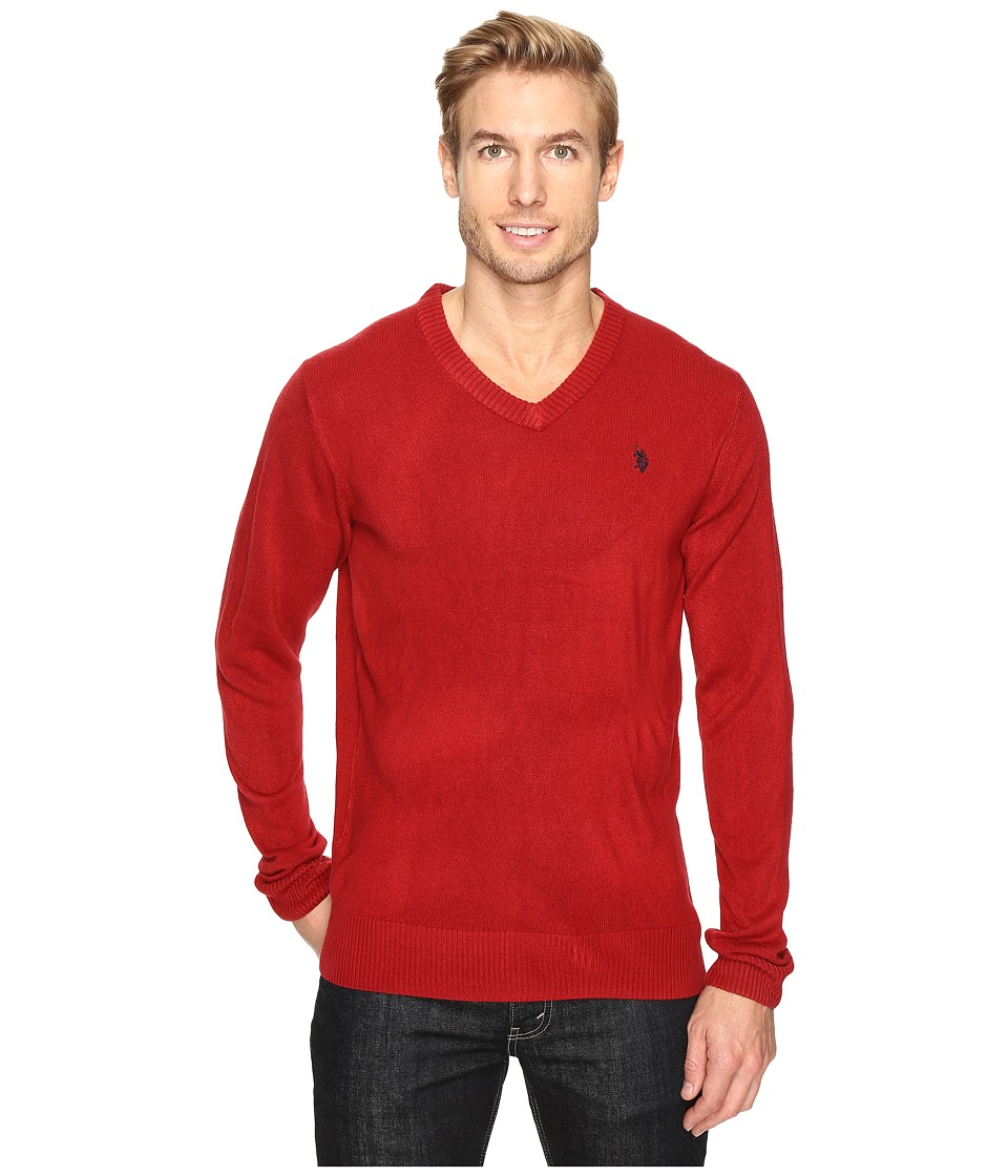 U.S. POLO ASSN. - Solid Vee Acrylic (Red) Men's Sweater