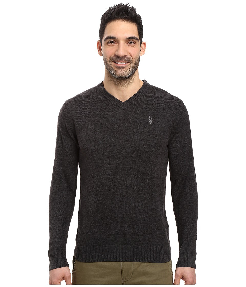U.S. POLO ASSN. - Solid Vee Acrylic (Charcoal Heather) Men's Sweater