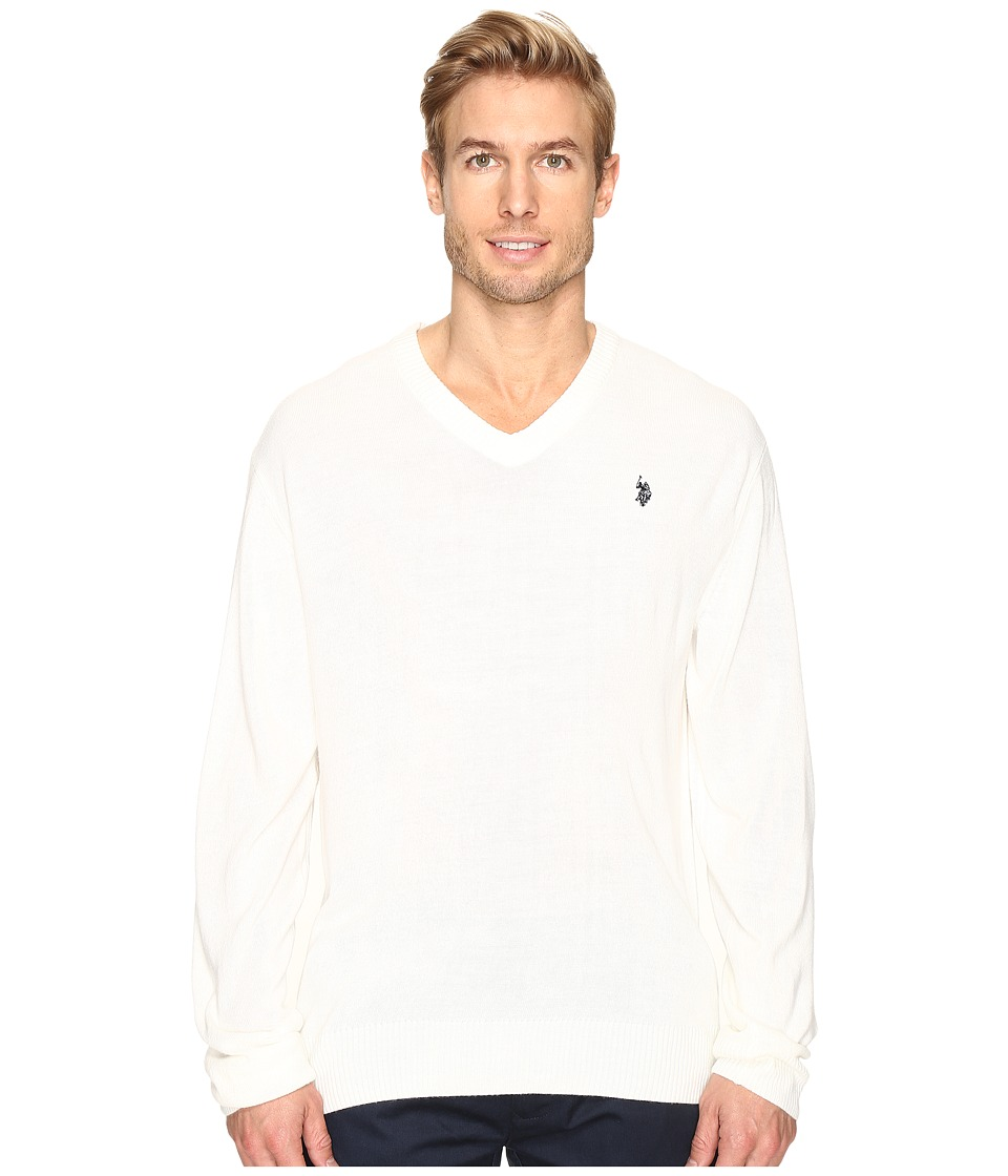 U.S. POLO ASSN. - Solid Vee Acrylic (Winter White) Men's Sweater