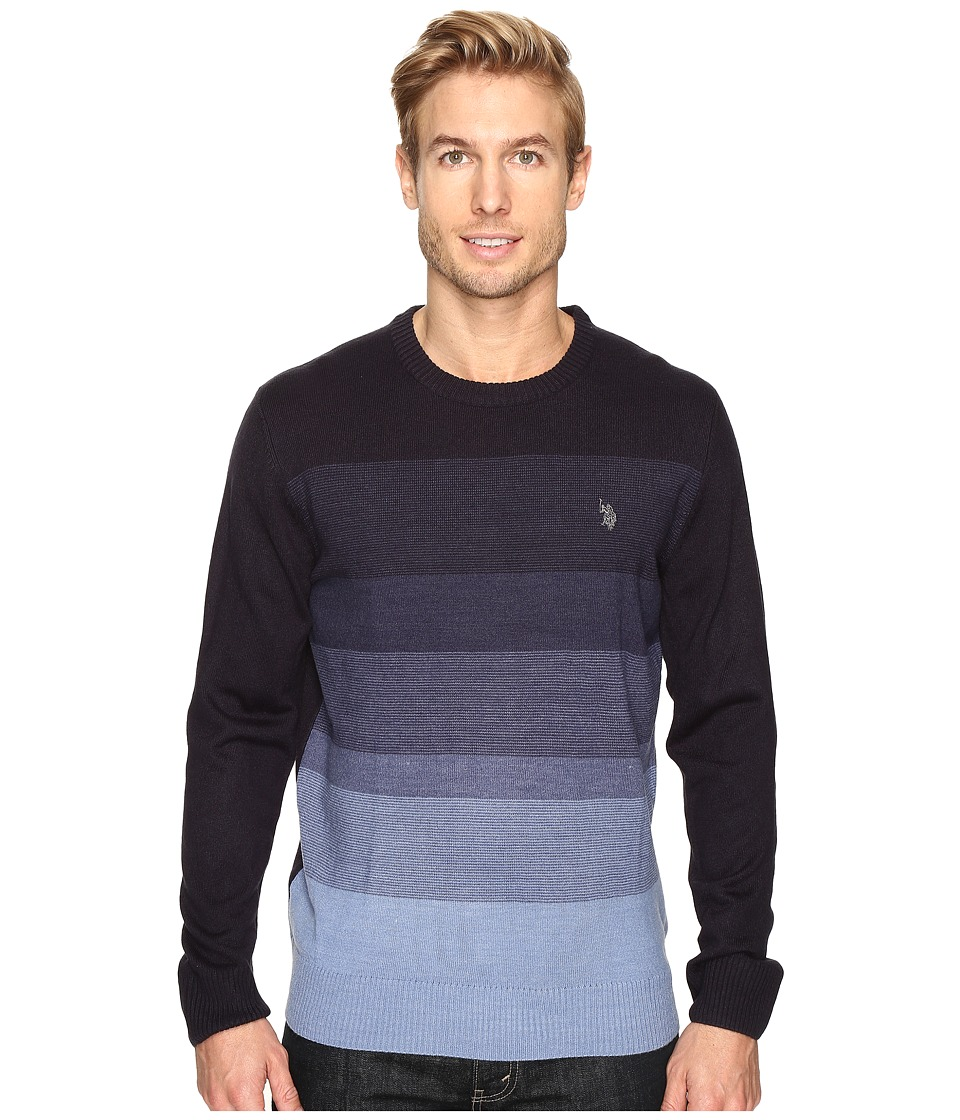 U.S. POLO ASSN. - Color Block Crew Acrylic (Navy) Men's Sweater