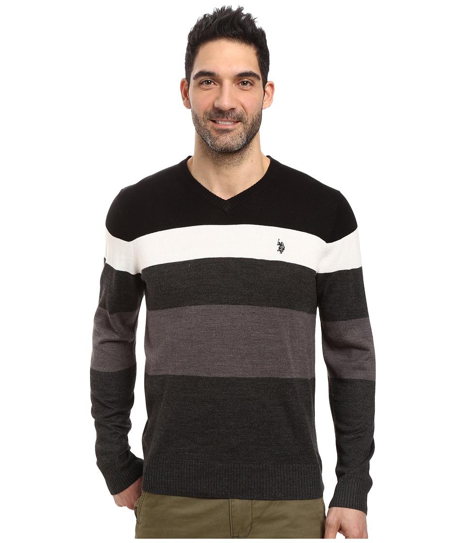 U.S. POLO ASSN. Stripe Vee Acrylic (Black) Men